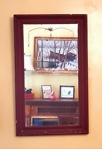 Gorgeous Chippy Vintage Art Deco Red Wall Mirror Floral Etching Shabby Chic Farm