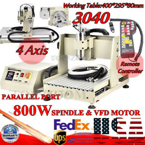 Four 4 Axis Cnc 3040 Router Engraver Machine Wood Milling Metal Cutting 800w Vfd