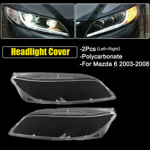 Pair Headlamp Cover Headlight Lens Replacement Left Right For Mazda 6 2003 2008