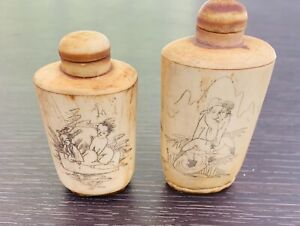 Lot 2x Antique Asian Erotic Snuff Bottle Top Hand Carved Figures