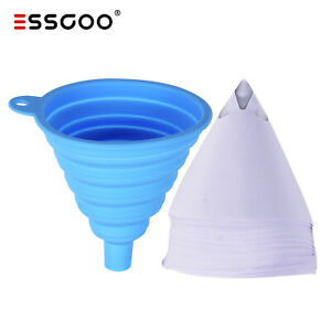 100pcs Disposable Nylon Mesh Paper Paint Strainer Strainers With Silicone Filter