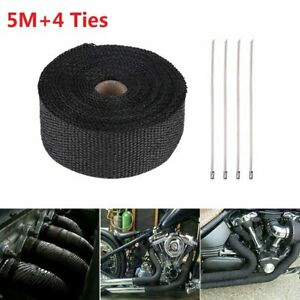 5m Titanium Manifold Exhaust Wrap Header Pipe Heat Insulation Tape Roll 4 Ties