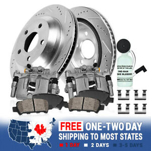 Rear Brake Calipers And Rotors Pads For 2005 2006 2007 2013 Ford Mustang V6 V8
