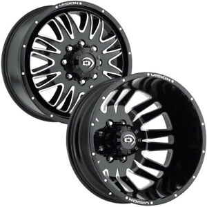 Set Of 6 20 Inch Vision 401 Rival Dually 8x200 Black machined Wheels Rims