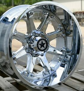 22 Chrome Lonestar Offroad Bandit Wheels 22x12 8x170 44mm Ford F250 F350
