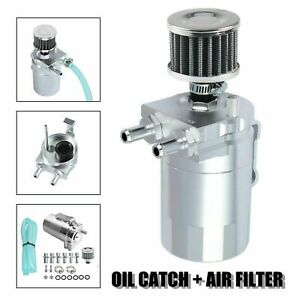 Silver Oil Catch Reservoir Breather Aluminum Can Tank Filter Kit Cylinder Engine