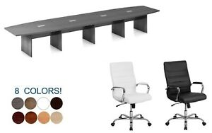 18 Foot Modern Conference Table And 16 High Back Leather Chairs Set Many Colors