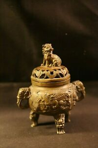 19th C Beautiful Antique Chinese Bronze Censer Incense Burner With Figures