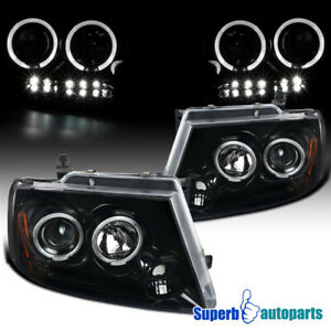 For 2004 2008 Ford F150 Led Dual Halo Polished Black Projector Headlights
