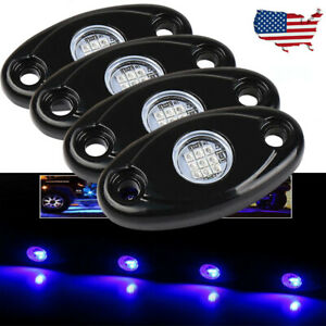 4x 9w Blue Led Rock Light Boat Deck Rig Neon Underbody Driving Lamps 4wd Atv Car