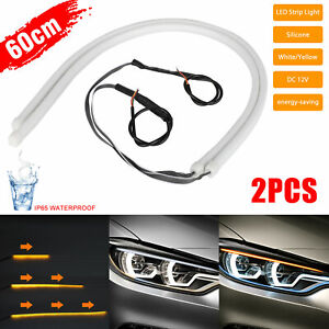 60cm Led Switchback White Drl Tube Light Strip Amber Sequential Flow Turn Signal