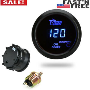 Universal 2 52mm Digital Led Electronic Oil Pressure Gauge Sensor Meter Kit J7j5