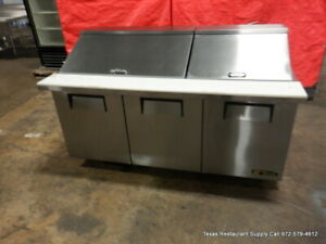 True Tssu 72 30m b st 72 3 Door Sandwich Megatop Prep Table On Casters