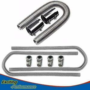 36 Stainless Steel Flexible Radiator 44 Heater Hose With Clamp Covers New