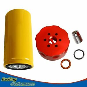 For 2001 2016 Gm Duramax Diesel 6 6l Cat Fuel Filter Adapter Kit Red