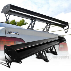 Black Aluminum Adjustable Gt Double Deck F1 Style Rear Spoiler Wing