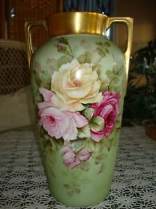 Antique Heinrich Co Bavaria Germany Hand Painted Signed Vase Roses Gold 12
