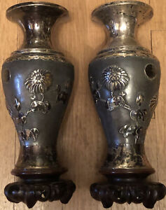 Antiq Silver Japanese Vase Meiji Raised Chrysanthemum Flower Eagle Shield Signd
