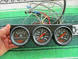 Sunpro Sport Mechanical Triple Large Gauge Volts Water Oil 2 5 8 Hot Rod Race