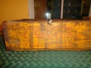 Vintage Antique Yellow Coca Cola Wood Crate Family Size Alton IL Durabilt A44