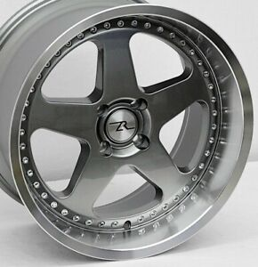 18 Gunmetal W Rivets Mustang Saleen Sc Replica Wheels 18x8 5 18x10 4x108 87 93