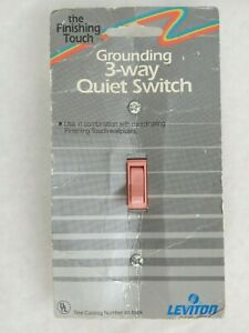 Vintage Leviton No 11453 Pink the Finishing Touch Grounding 3 way Quiet Switch