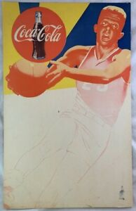 Large Old Coca Cola One Sided Advertising Sign Basketball Player Soda