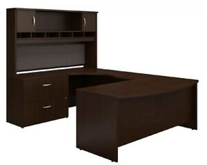 Bush 72 w Bow front U shaped Mocha Cherry Desk With Hutch Left hand Extemsion