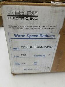 Sterling Electric 2206bq020563 Right Angle Gearbox Speed Reducer 20 1 New