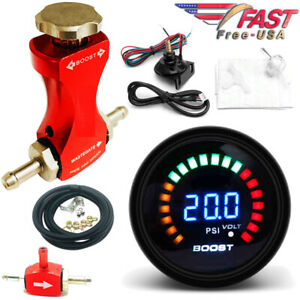 0 30 Psi Manual Boost Controller Kit Red W 52mm Digital Electronic Boost Gauge