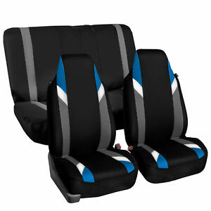 Highback Universal Seat Cover Full Set For Auto Suv Car Blue Black