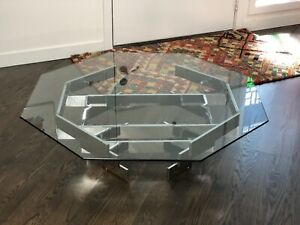 Mid Century Modern Paul Mayen Octagon Chrome Coffee Table Glass Top 1970 S