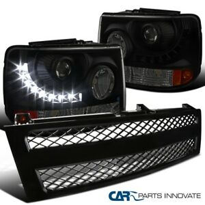 For 99 02 Chevy Silverado Smoke Projector Headlights black Mesh Grille