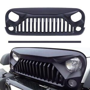 For 2007 2018 Jeep Wrangler Jk Matte Black Angry Bird Front Bumper Grille Grill