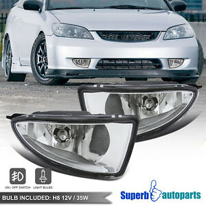 For 2004 2005 Honda Civic 2 4 Fog Lights Front Bumper Lamps Switch Bulbs