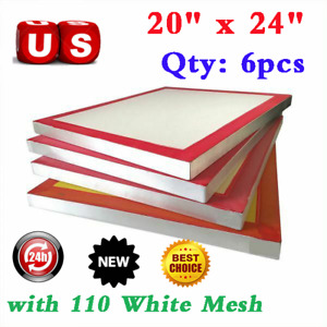 Usa 20 x24 6pack Aluminum Frame Screen Printing Screens With 110 White Mesh