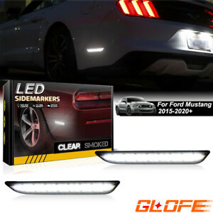 Upgrade White Led Side Marker Lights Rear For 2015 2020 Ford Mustang Smoked Lens