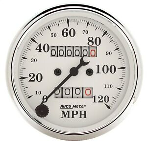 Autometer 1693 Old Tyme White Mechanical Speedometer