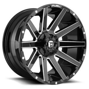 4 fuel D615 Contra 22x10 8x180 18mm Black milled Wheels Rims 22 Inch
