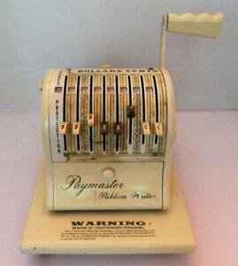 Vintage Paymaster Ribbon Writer Series 8000 Check Writer With Key And Cover