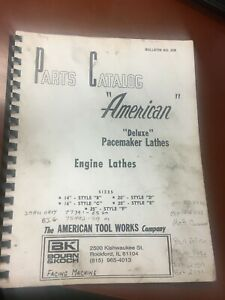American Tool Works 14 25 Deluxe Pacemaker Metal Lathe Parts Book Revision25b