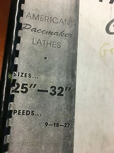 American Tool Works 25 32 Pacemaker Metal Lathe Parts Book Revision 38