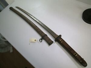 Late Wwii Japanese Officers Samurai Sword With Scabbard Signed And Dated N57