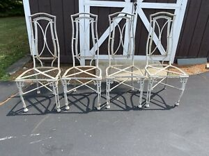 Vintage 4 Aluminum Faux Bamboo Dining Chairs Mid Cen Mod