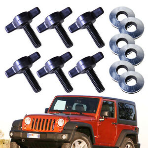 6 Sets Hard Top Removal Washers Screw Nut Knob Fit For Jeep Wrangler 2001 2016