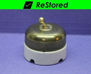 Vintage Dome Ball Toggle Switch Single pole Brass porcelain Round Hubbell