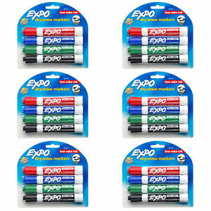 New 4 Expo Dry Erase Markers Intense Colors Low Odor Ink Chisel Tip 6 Packs