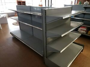 Double Sided Retail Store 4 Gondola Shelving Sections Super Market