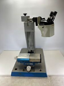 Bausch Lomb Stereo Microscope Head W Heavy Aluminum Base And Axis Manual Table