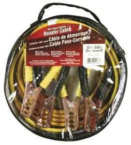 Battery Booster Jumper Cables Black Yellow 12ft 8 Gauge W Bag Ideal For Rv S